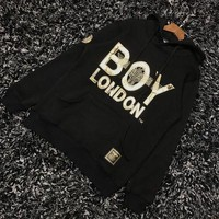 """Boy London"" Women Casual Fashion Letter Embroidery Loose Long Sleeve Hooded Pullover Sweater Tops"