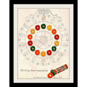 "1960 Lifesavers Candy Ad ""Winning Wheel"" Vintage Advertisement Print"