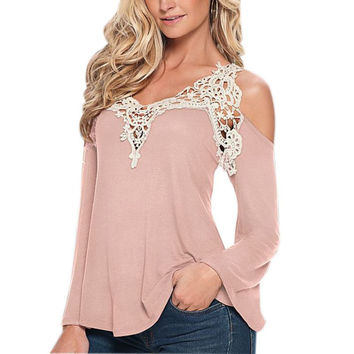 Fashion Femininos Autumn Blusas Women Blouses Lace Long Sleeve Casual Off Shoulder V-Neck Strapless Shirt Tops V2 A7 A8