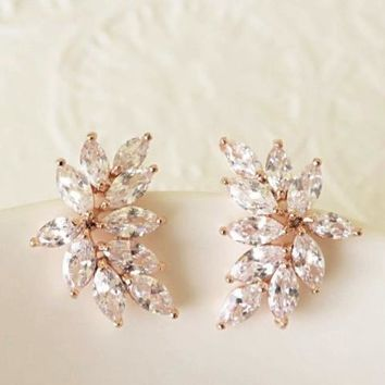 Rose Gold Marquise Crystal Earrings