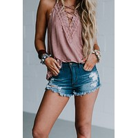 High Waisted Jean Shorts - Light Wash