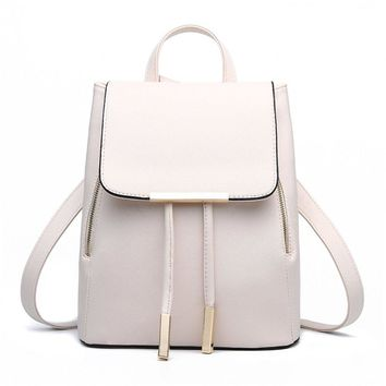 Casual Purse Fashion School Leather Backpack