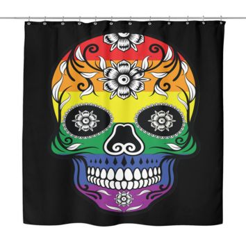 "LGBT Gay Pride Shower Curtain by Living Gay | Rainbow Calavera Catrina Skull, 70"" x 70"", 100% Woven Polyester"