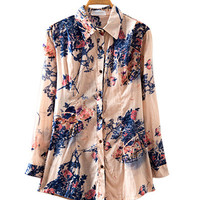 Ink Flowers Print Long Sleeve Blouse