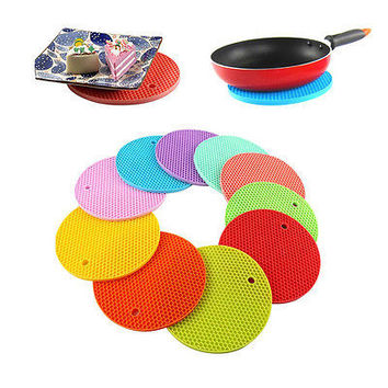 Silicone Round Trivet Table Heat Resistant Mat Cup Coaster Placemat Pad HU