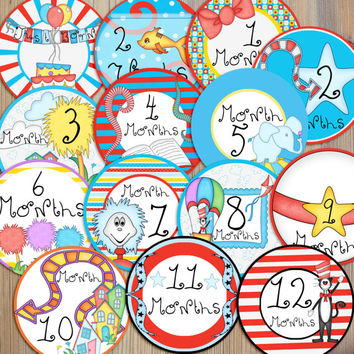 Instant Download - 14 Dr Suess Inspired Cat Hat Elephant Baby Newborn Monthly Milestone Stickers and Iron On DIY PDF Files
