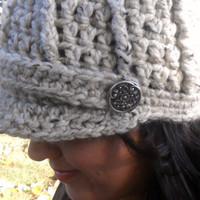 Crochet Newsboy Cap with Buttons  Oatmeal  by SoLaynaInspirations