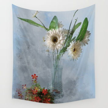 Wildflower Still LIFE Wall Tapestry by Theresa Campbell D'August Art