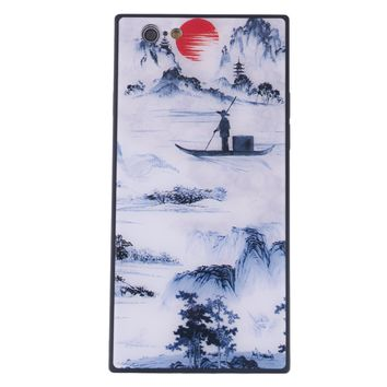 China Style Square Glass Phone Case Blue and White Porcelain Phone Shell for iPhone (Fisherman's Song)