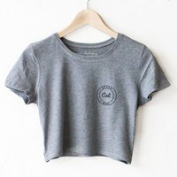 Beach Babe Cali Crop Top - Dark Heather Grey