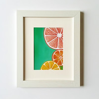 Citrus art print, Kitchen wall decor, Colorful wall art, Fruit Print, Kitchen art, 5 x 7, 8 x 10