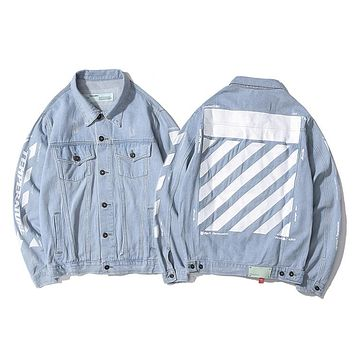 OFF WHITE hot selling arm slogan bone-breaking print denim jackets stylish casual jackets for men and women