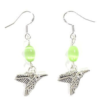 Hummingbird Dangle Earrings Silver Tone Bird Charm EG22 Fashion Jewelry