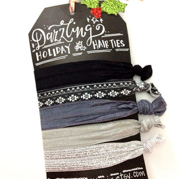 Hair Tie Set of Five 5 pack hair ties black and white aztec, ombre, grey, white and black no crease no snag pony holders Christmas gift