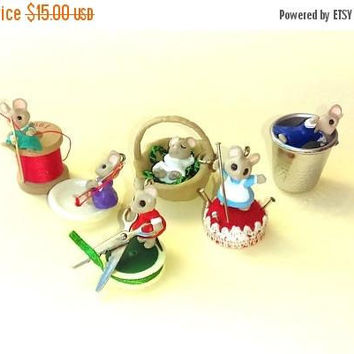 Christmas Sale Vintage Miniature Christmas Ornaments - Miniature Mouse Ornament Lot - Tiny Christmas Ornaments - Vintage Hallmark