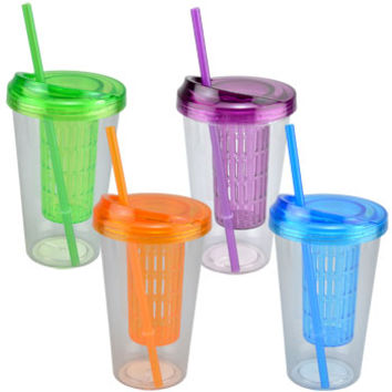 Bulk Single Wall Tumblers with Infuser Lids and Straws, 20 oz. at DollarTree.com