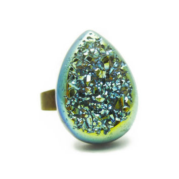 Titanium Quartz Light Metallic Blue Druzy Ring Teardrop Pear Shape n.6
