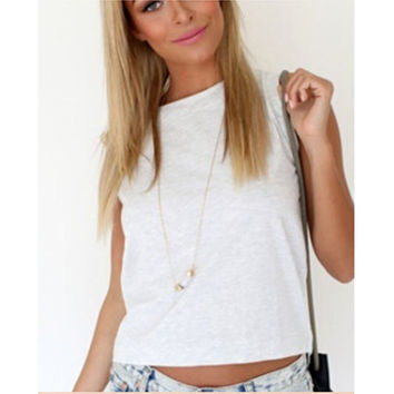 White Sleeveless Back Cross Shirt
