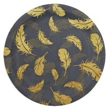 Elegant And Chic Black And Gold Feather Pattern Paper Plate