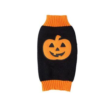 Autumn Winter Pet Clothing Supplies Halloween Pumpkin Pattern Dog Sweater Knitted Sweaters For Dogs Puppy