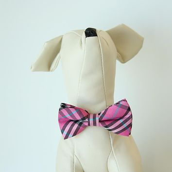 Carmine rose Check plaid  bow, Small bow tie collar, Puppy Collar, Cat collar, Cat bow tie collar