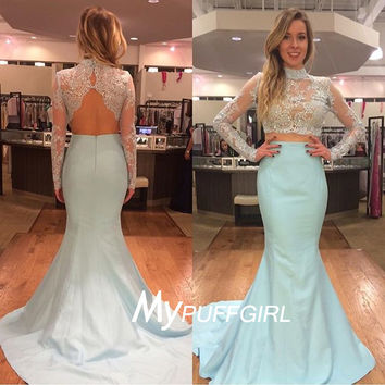 Ice Blue Two Piece Prom Dress , Long Sleeves Mermaid Formal Gown
