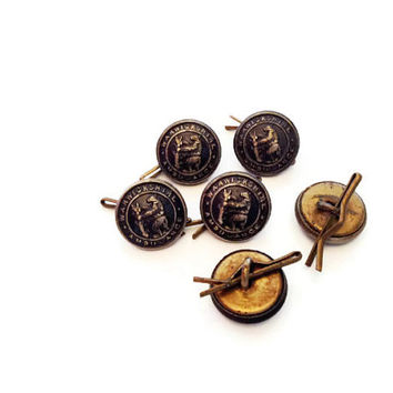 6 Vintage British Ambulance service Buttons small