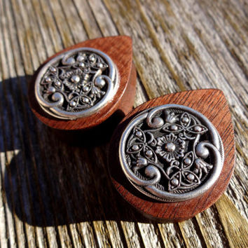 "TEARDROP Exotic Wood Plugs Vintage Floral Metal Inlay size 1-1/16"" - 1-3/4"""
