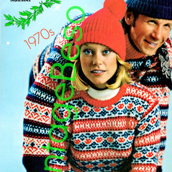 Sweater KNITTING Pattern Vintage 70s Norwegian Turtleneck Pullover Knitting Pattern Ski Cap Knitting Pattern INSTANT Download Pdf Pattern