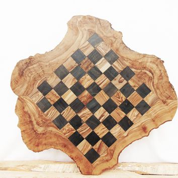 Granddad Gift, Custom Olive Wood Chess Board, Wooden Chess Set Game, Dad gift, Birthday Gift
