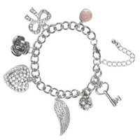 Rhinestone Bow Charm Bracelet | Shop Jewelry at Wet Seal