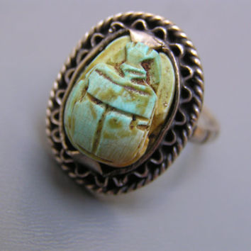 Vintage Art Deco  Ring . Egyptian Revival Sterling Silver Carved Scarab jewelry