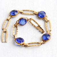 Vintage Art Deco Yellow Gold Filled Sapphire Blue Stone Bracelet - 1940s Hallmarked Simmons Jewelry