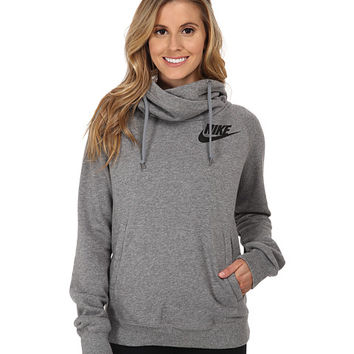 Nike Rally Funnel Neck Hoodie Carbon Heather/Cool Grey/Black - Zappos.com Free Shipping BOTH Ways