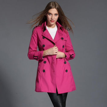 Trench Coat For Women 2017 Europe and America Woman B Style Slim Double Breasted Ladies Windbreaker Fashion Spring Coat Rose