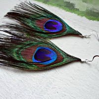 Peacock Feather Earrings from Fourth Tower Jewelry