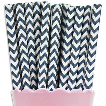 Navy Blue Chevron Paper Straws