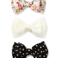 Dots & Floral Hair Clip Set