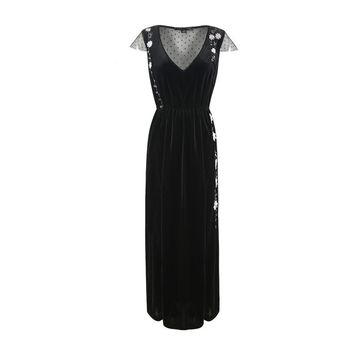 Summer western style fashion slim patchwork mesh embroidery sleeveless  Casual long dress