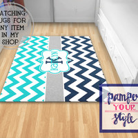 Monogrammed Rug, Monogrammed Livingroom, Personalized Rug, Chevron Turquoise and Navy Blue Rug Bedroom Rug, Foyer Rug, Enter Rug,