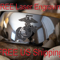 Tungsten Carbide Band Marines 12mm Dome Ring-Free Inside Engraving