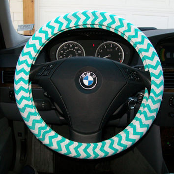 Small Aqua Chevron Steering Wheel Cover