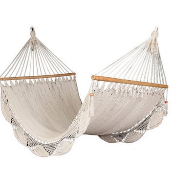 Romantic white hammock handmade of cotton
