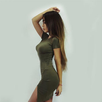 Green Split Mini Dress