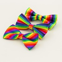 Fashion Colorful Rainbow Striped Bowties For Groom Men Women Wedding Party Leisure Gravatas