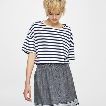 Flounced printed mini skirt - Skirts - Clothing - Woman - PULL&BEAR United Kingdom