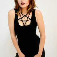 PENTAGRAM cut-out collar black maxi dress