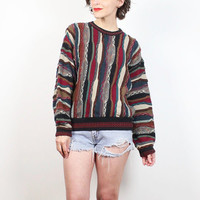 Vintage 90s Sweater Textured Striped Coogi Sweater Style Hipster Techno Sweater 1990s Jumper Soft Grunge Cosby Sweater Biggie Knit S Small M