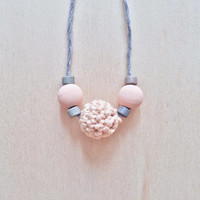 Blush Pink Necklace, Eco-friendly Jewellery, Crochet Beads Necklace, Cotton Anniversary Gift