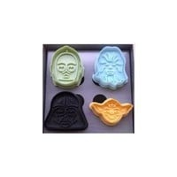 Star Wars Press-and-Stamp Cookie Cutters, Set of 4 Heroes and Villains: Yoda, Darth Vader, C3P0 and Chewbacca